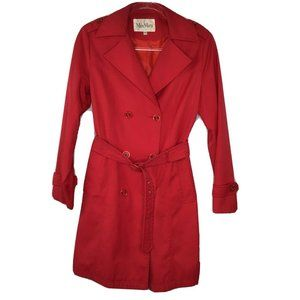 MaxMara Trench Coat Jacket Large L Red Belted